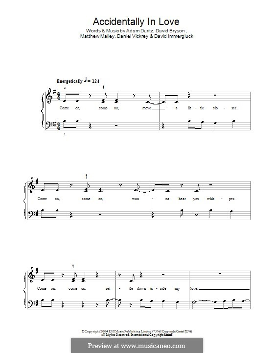 Accidentally in Love (from Shrek 2): Facil para o piano by Adam F. Duritz, Daniel J. Vickrey, David Bryson, David Immergluck, Matthew Malley