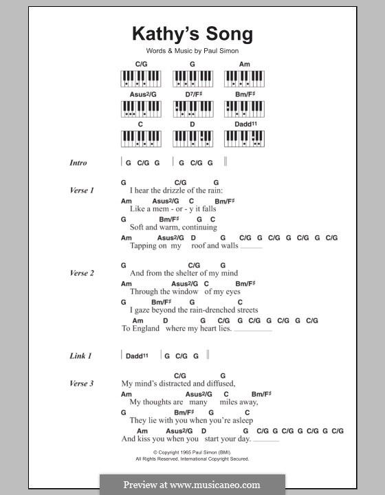 Kathy's Song (Simon & Garfunkel): letras e acordes para piano by Paul Simon