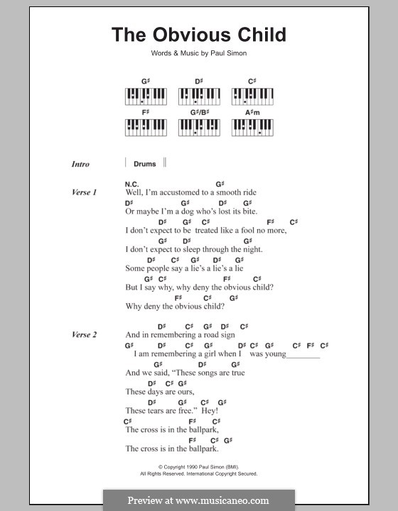 The Obvious Child: letras e acordes para piano by Paul Simon