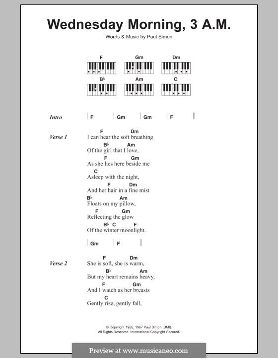 Wednesday Morning, 3 A.M. (Simon & Garfunkel): letras e acordes para piano by Paul Simon