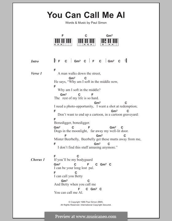 You Can Call Me Al: letras e acordes para piano by Paul Simon