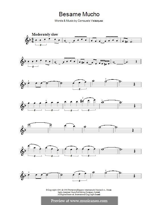 Besame Mucho (Kiss Me Much): para violino by Consuelo Velazquez