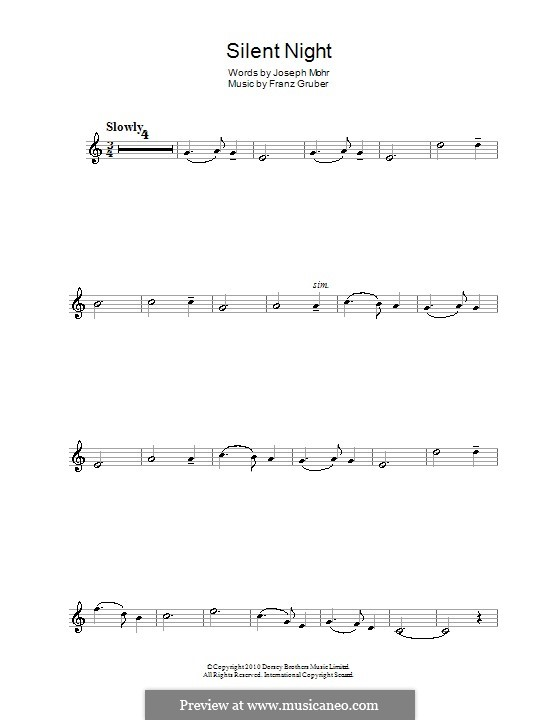Silent Night (Printable): For clarinet by Franz Xaver Gruber