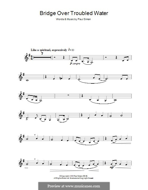 Bridge Over Troubled Water: para clarinete by Paul Simon