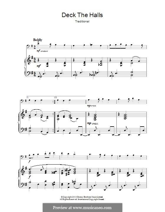Deck the Hall (Printable): para violoncelo by folklore