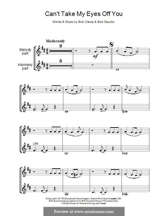 Can't Take My Eyes Off of You (Frankie Valli & The Four Seasons): para duas clarinetas by Bob Crewe, Bob Gaudio