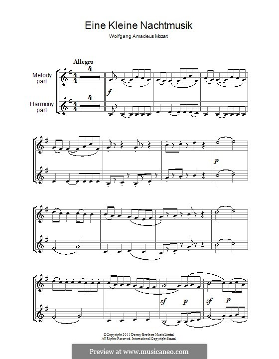Allegro: para duas clarinetas by Wolfgang Amadeus Mozart