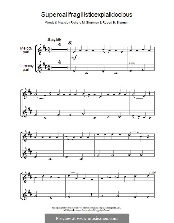 Supercalifragilisticexpialidocious (from Mary Poppins): para duas clarinetas by Richard M. Sherman, Robert B. Sherman