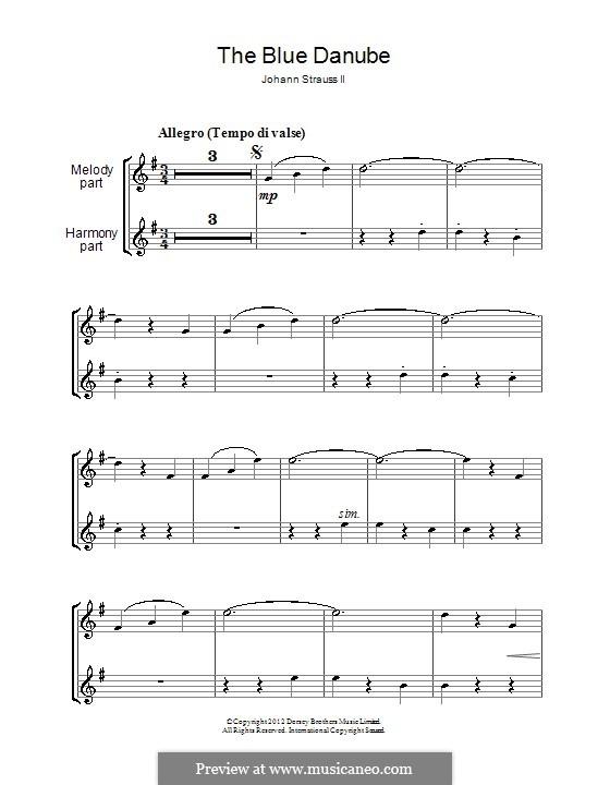 On the Beautiful Blue Danube, Op.314: para duas clarinetas by Johann Strauss (Sohn)