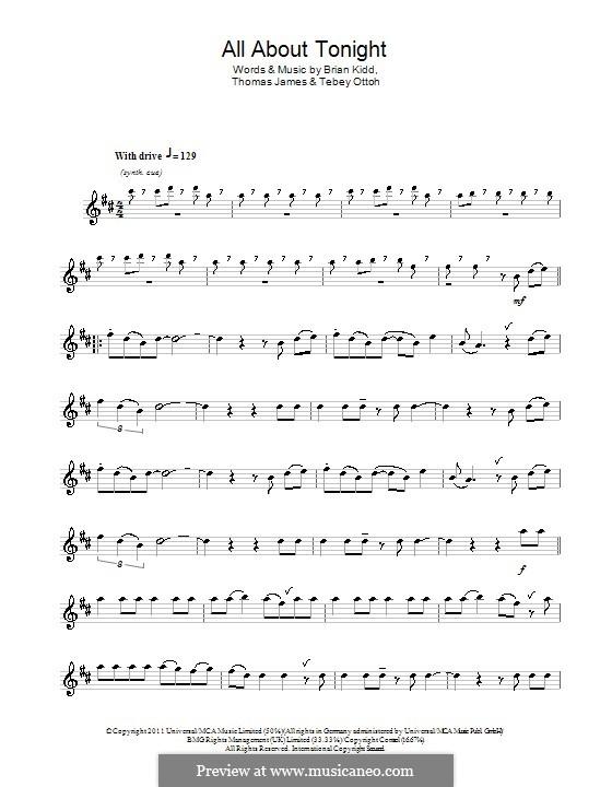 All About Tonight (Pixie Lott): para flauta by Brian Kidd, Tebey Ottoh, Thomas James