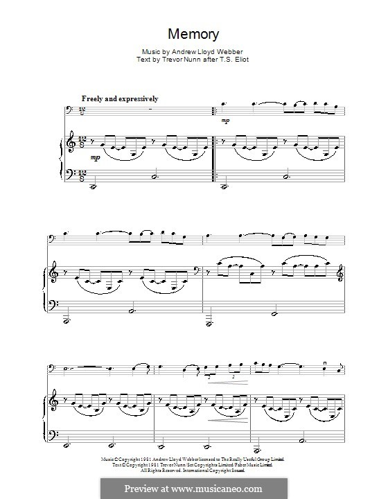 Memory (from Cats): para violoncelo by Andrew Lloyd Webber