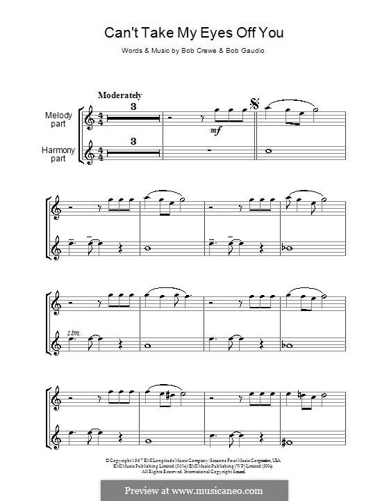 Can't Take My Eyes Off of You (Frankie Valli & The Four Seasons): para duas flautas by Bob Crewe, Bob Gaudio