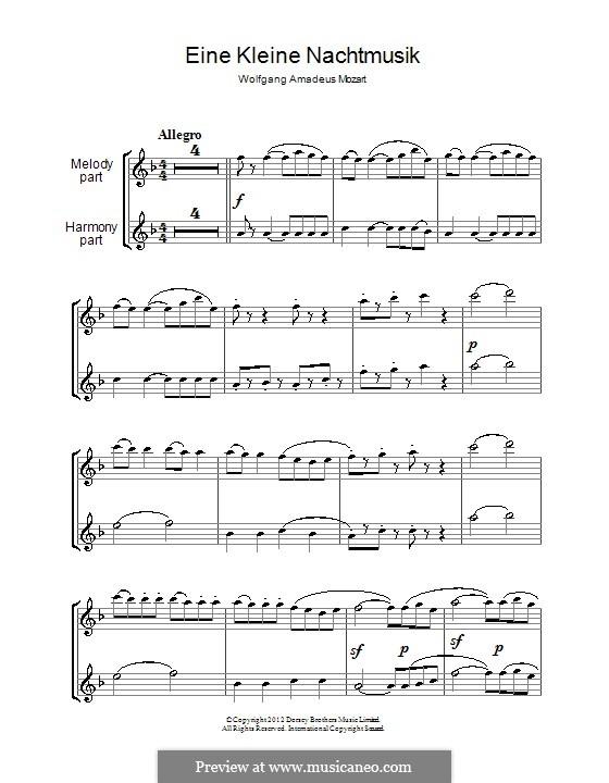 Allegro: para duas flautas by Wolfgang Amadeus Mozart