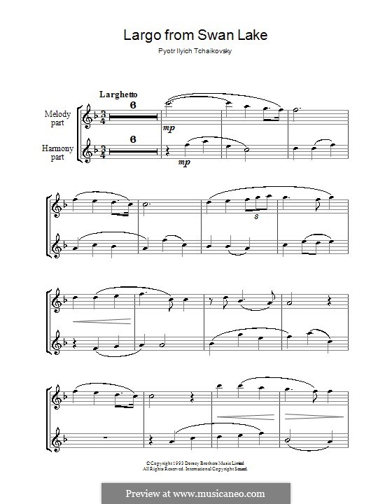 Fragments: Largo, for two flutes by Pyotr Tchaikovsky