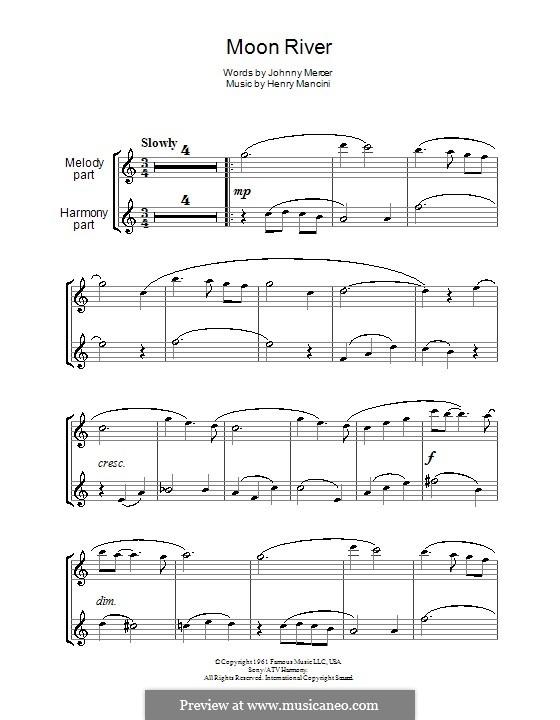 Moon River (from Breakfast at Tiffany's): para duas flautas by Henry Mancini