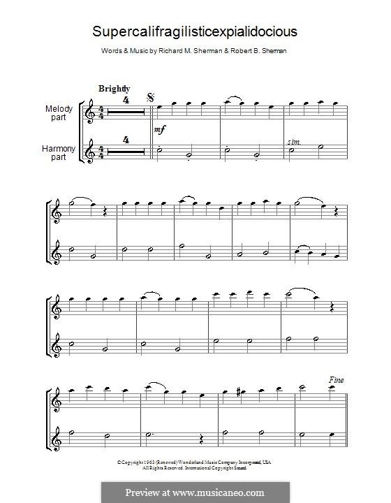 Supercalifragilisticexpialidocious (from Mary Poppins): para duas flautas by Richard M. Sherman, Robert B. Sherman