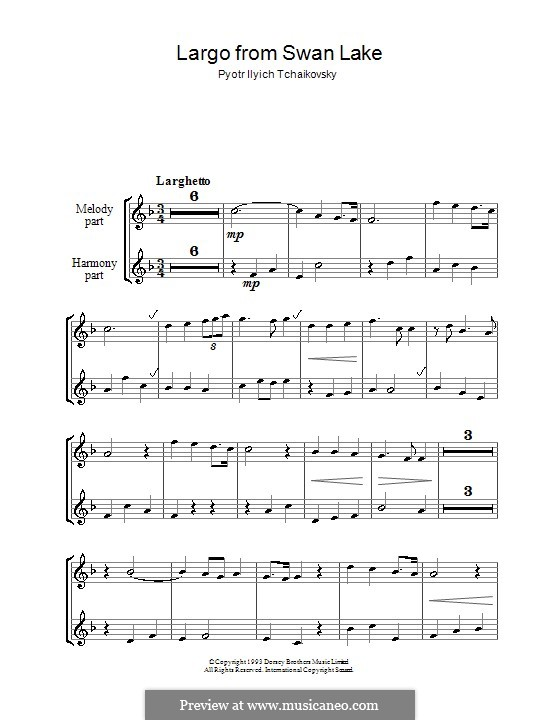 Fragments: Largo, for two recorders by Pyotr Tchaikovsky
