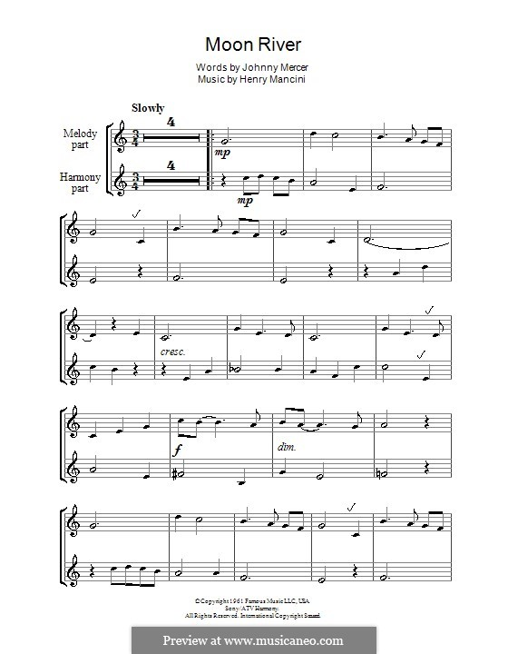 Moon River (from Breakfast at Tiffany's): For two recorders by Henry Mancini