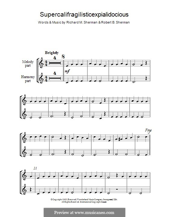 Supercalifragilisticexpialidocious (from Mary Poppins): para gravar by Richard M. Sherman, Robert B. Sherman