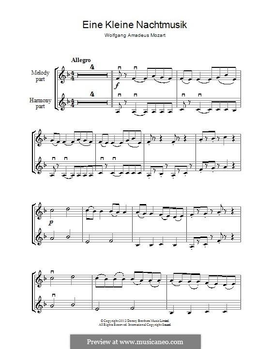 Allegro: para dois violinos by Wolfgang Amadeus Mozart