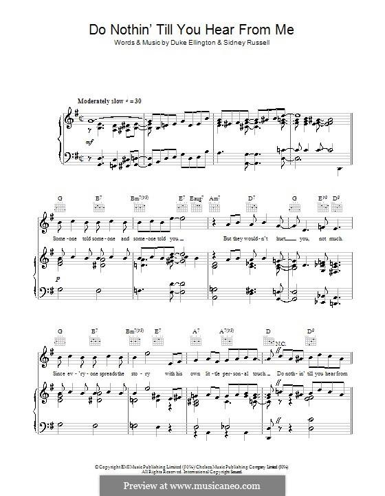 Do Nothin' Till You Hear from Me: Para vocais e piano (ou Guitarra) by Duke Ellington