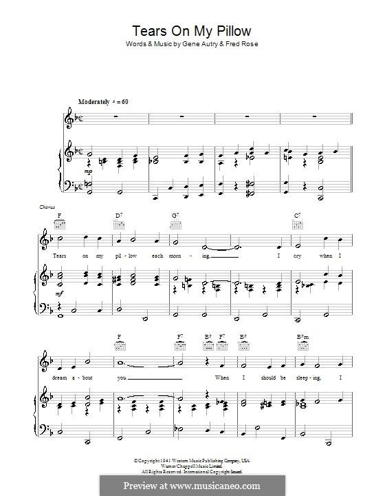 Tears on My Pillow: Para vocais e piano (ou Guitarra) by Fred Rose, Gene Autry