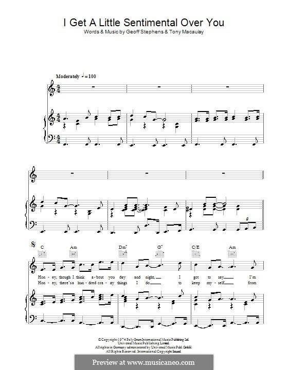 I Get a Little Sentimental Over You (The New Seekers): Para vocais e piano (ou Guitarra) by Geoff Stephens, Tony Macaulay