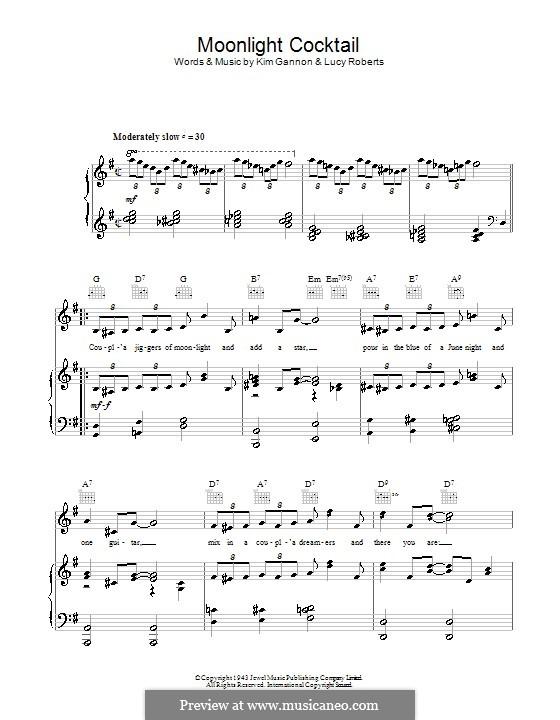 Moonlight Cocktail: Para vocais e piano (ou Guitarra) by Kim Gannon, Lucy Roberts