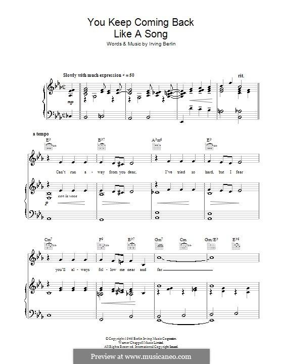 You Keep Coming Back Like a Song (Bing Crosby): Para vocais e piano (ou Guitarra) by Irving Berlin