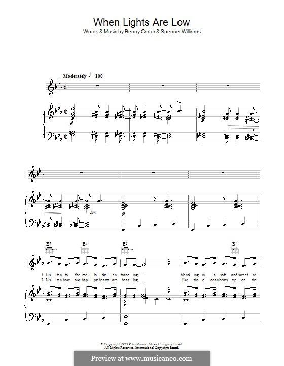 When Lights Are Low: Para vocais e piano (ou Guitarra) by Benny Carter, Spencer Williams