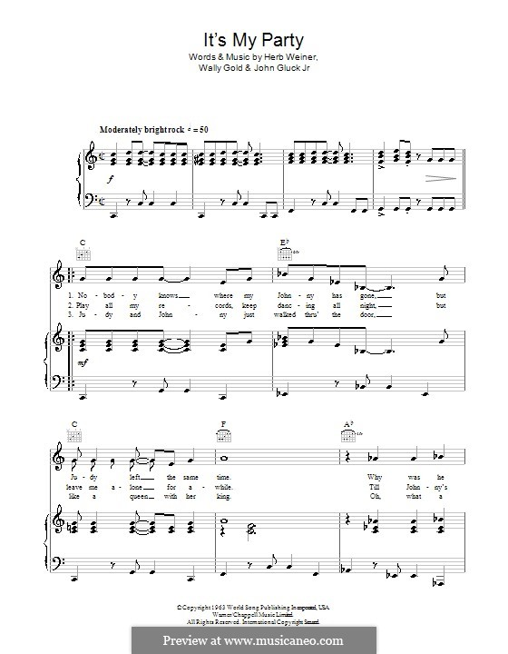 It's My Party (Lesley Gore): Para vocais e piano (ou Guitarra) by Herb Weiner, John Gluck Jr., Wally Gold
