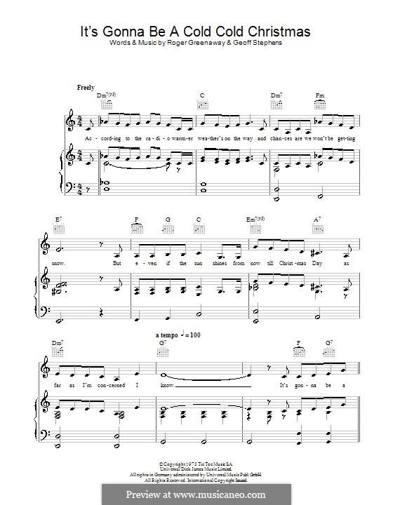 It's Gonna Be a Cold Cold Christmas (Dana): Para vocais e piano (ou Guitarra) by Geoff Stephens, Roger Greenaway