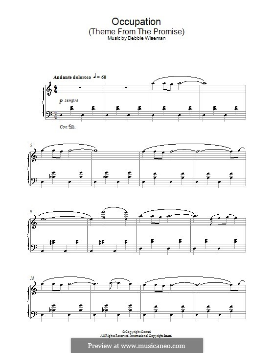 Occupation (Theme from The Promise): Para Piano by Debbie Wiseman