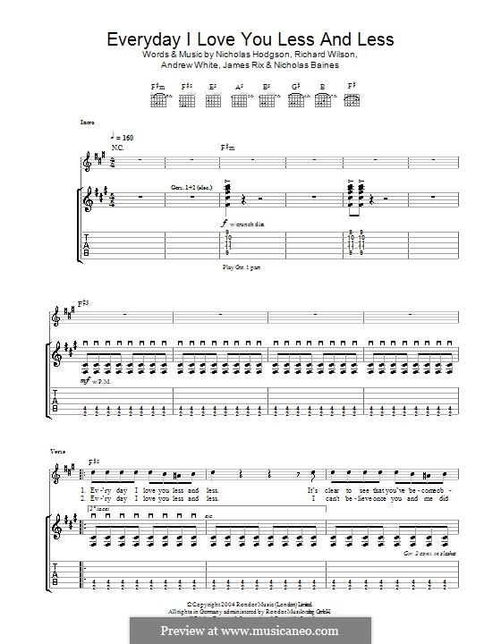 Everyday I Love You Less and Less (Kaiser Chiefs): Para guitarra com guia by Andrew White, James Rix, Nicholas Baines, Nicholas Hodgson, Charles Wilson