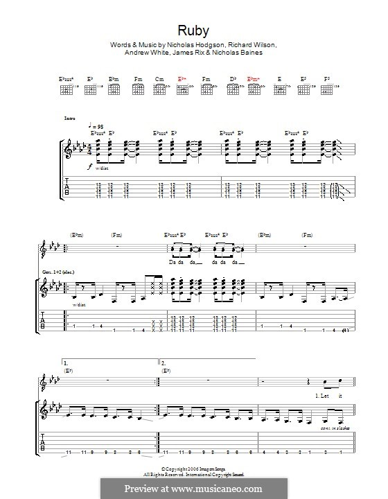 Ruby (Kaiser Chiefs): Para guitarra com guia by Andrew White, James Rix, Nicholas Baines, Nicholas Hodgson, Charles Wilson