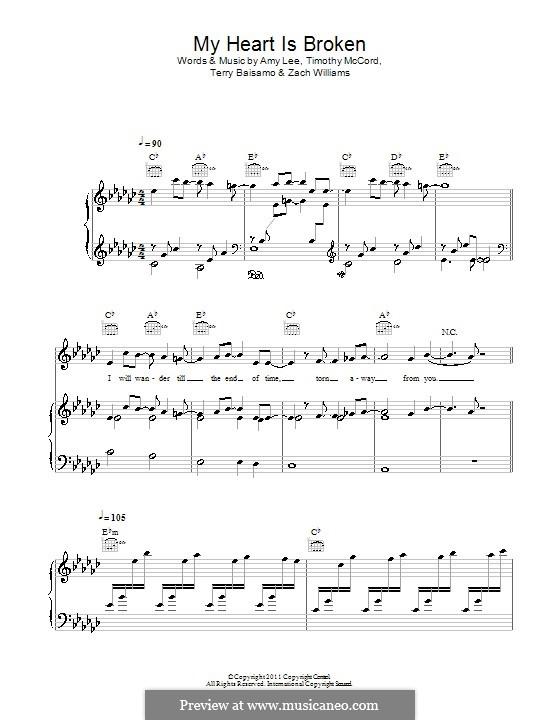 My Heart Is Broken (Evanescence): Para vocais e piano (ou Guitarra) by Amy Lee, Terry Baisamo, Timothy McCord, Zach Williams