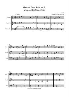 Gavotte: Version for string trio by Johann Sebastian Bach