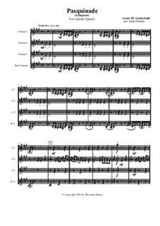 Pasquinade. Caprice, Op.59: para quarteto de clarinete by Louis Moreau Gottschalk