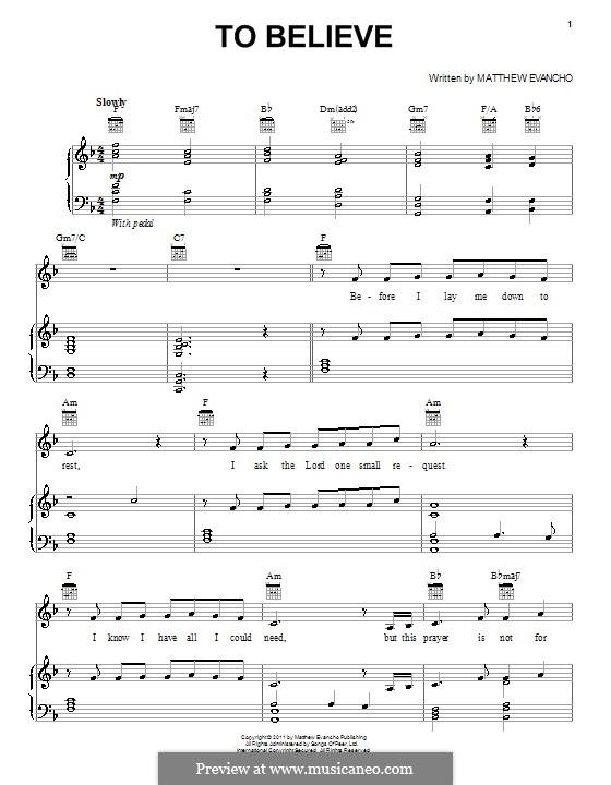 To Believe: Para vocais e piano (ou Guitarra) by Matthew Evancho