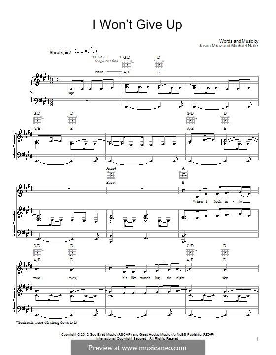 I Won't Give Up: Para vocais e piano (ou Guitarra) by Jason Mraz, Michael Natter