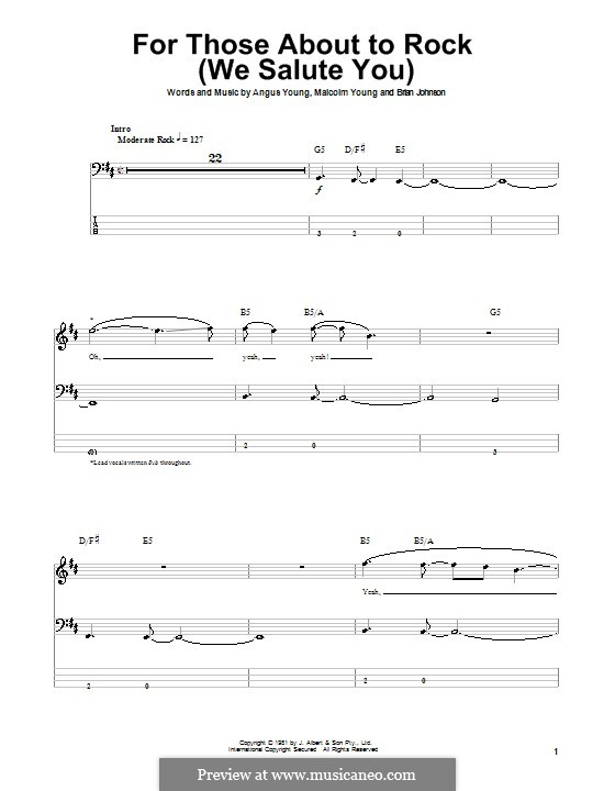 For Those About to Rock (We Salute You): For bass guitar with tab (AC/DC) by Angus Young, Brian Johnson, Malcolm Young