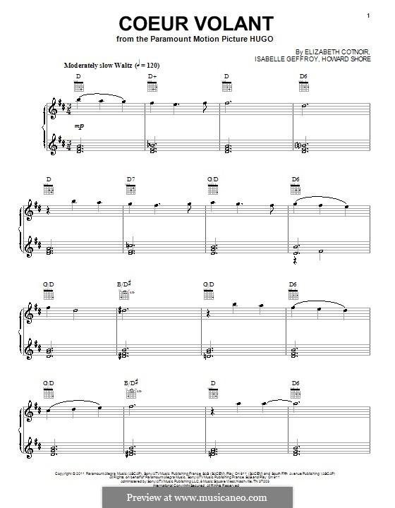 Coeur Volant: Para vocais e piano (ou Guitarra) by Howard Shore, Isabelle Geffroy