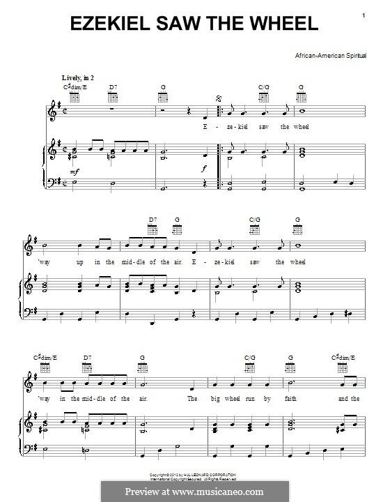 Ezekiel Saw the Wheel: Para vocais e piano (ou Guitarra) by folklore