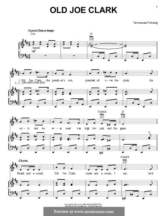 Old Joe Clark: Para vocais e piano (ou Guitarra) by folklore