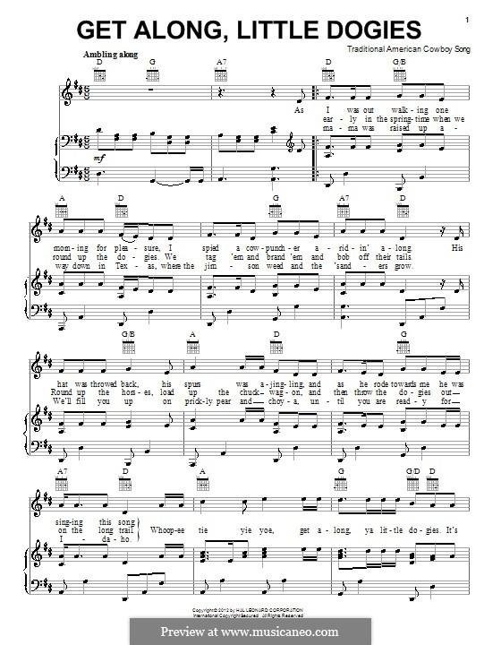Get Along, Little Dogies: Para vocais e piano (ou Guitarra) by folklore