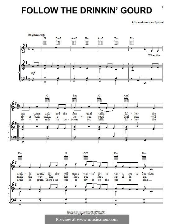 Follow the Drinkin' Gourd: Para vocais e piano (ou Guitarra) by folklore