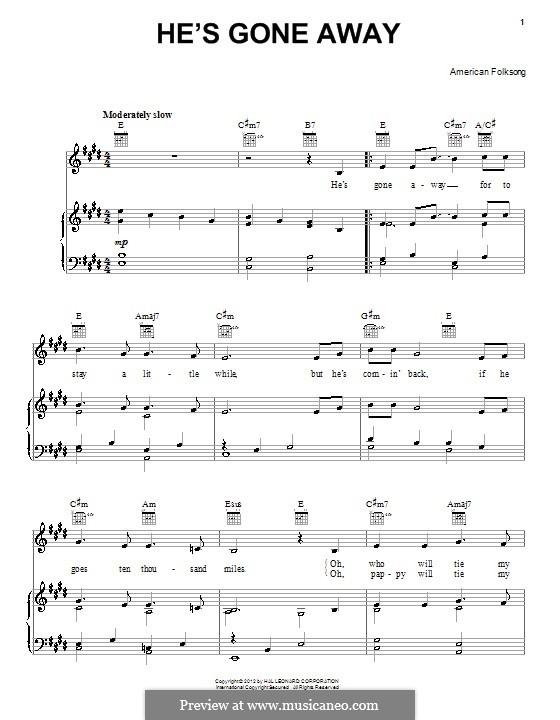 He's Gone Away: Para vocais e piano (ou Guitarra) by folklore