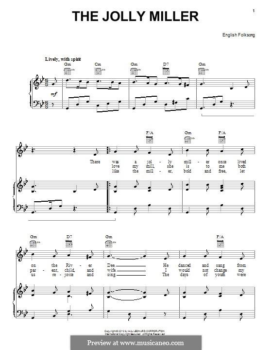 Jolly Miller: Para vocais e piano (ou Guitarra) by folklore