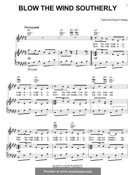 Blow the Wind Southerly: Para vocais e piano (ou Guitarra) by folklore