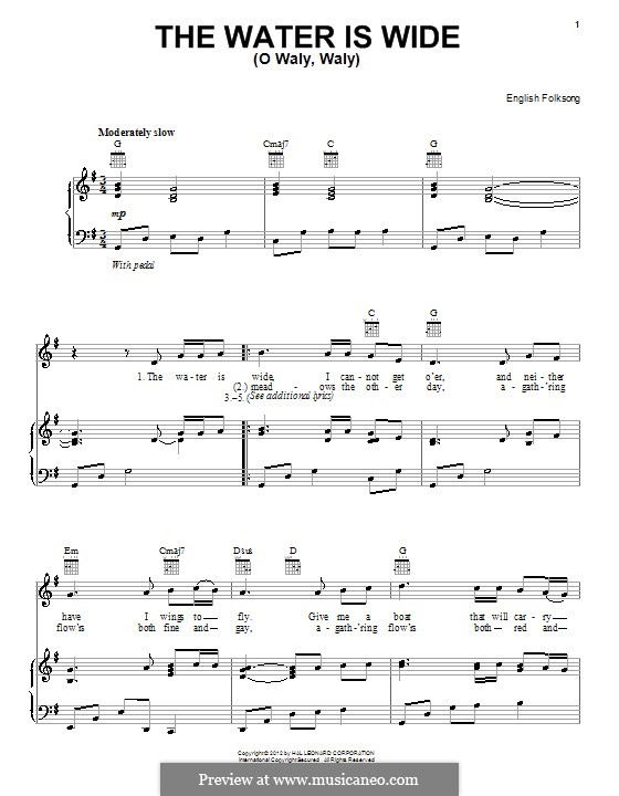 The Water is Wide: Para vocais e piano (ou Guitarra) by folklore